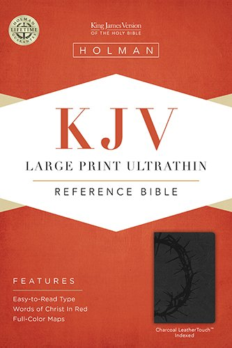 KJV Large Print Ultrathin Reference Bible, Charcoal LeatherTouch Indexed,IL,Hol
